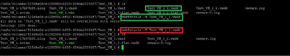 VMDK content deletion