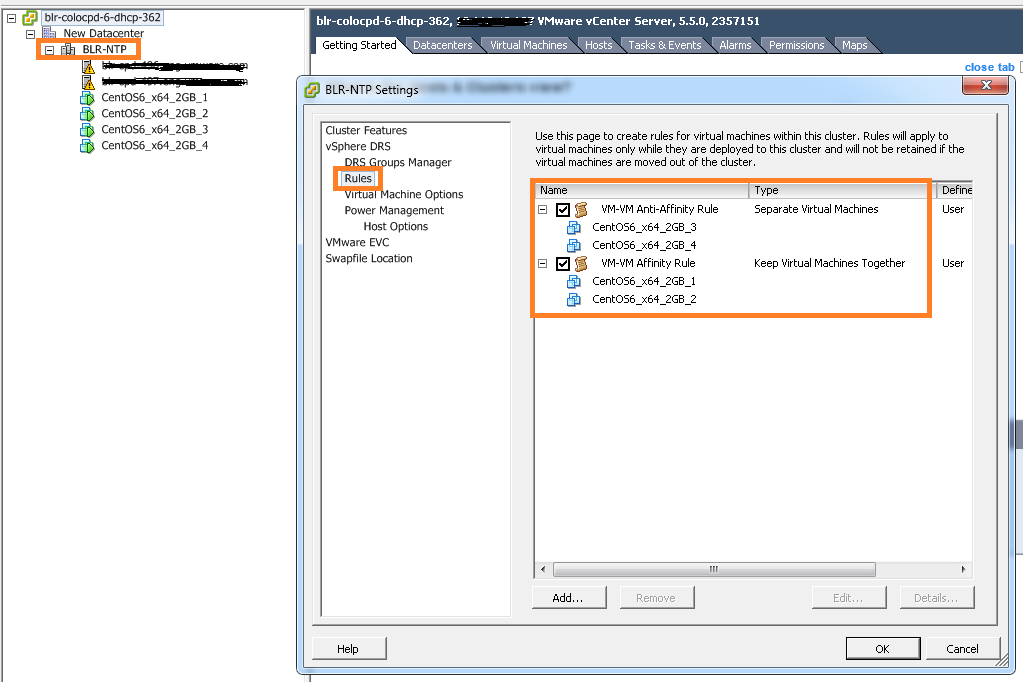 DRS rules PART II: How to create VM-VM affinity rules using