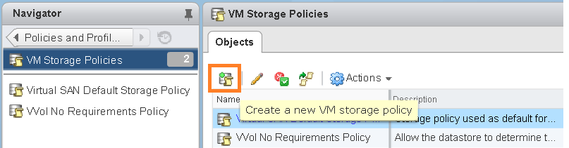 Create VM storage policy