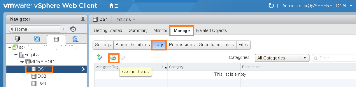 Assign tags to Datastore
