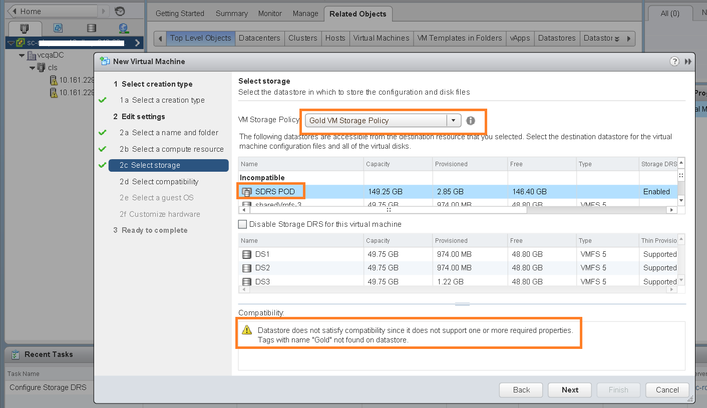 Warning on selecting policy create VM
